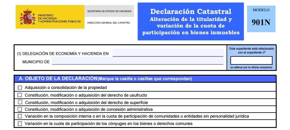 ALTERACIÓN DE LA TITULARIDAD CATASTRAL. MODELO 901N